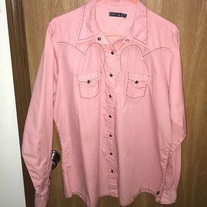 Cruel Girl XXL Pink Mini Polka Dots Western Snap